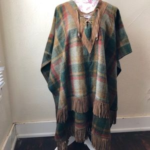 Pioneer Wear Plaid Lace Front Poncho L Wool